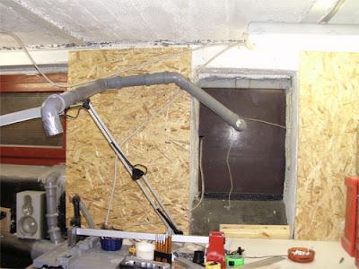 OSB Platte Absauganlage Garage