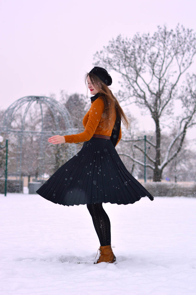 twirl skirt, twirl snowing, twirling outfit, georgiana quaint, pleated skirt