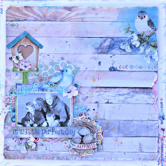 BoBunny Serendipity Mixed Media Scrapbook Page featuring Pentart Stencil Paste designed by Rhonda Van Ginkel