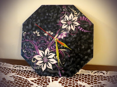 Purple & black decoupage wall clock for my grandmother