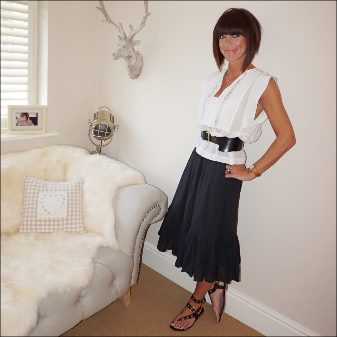 my midlife fashion, isabel marant etoile white broderie summer blouse, and other stories waist buckle belt, j crew dobby frill detail midi skirt, iro eyelet embellished leather sandals