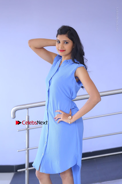 Telugu Actress Mounika UHD Stills in Blue Short Dress at Tik Tak Telugu Movie Audio Launch .COM 0003.JPG