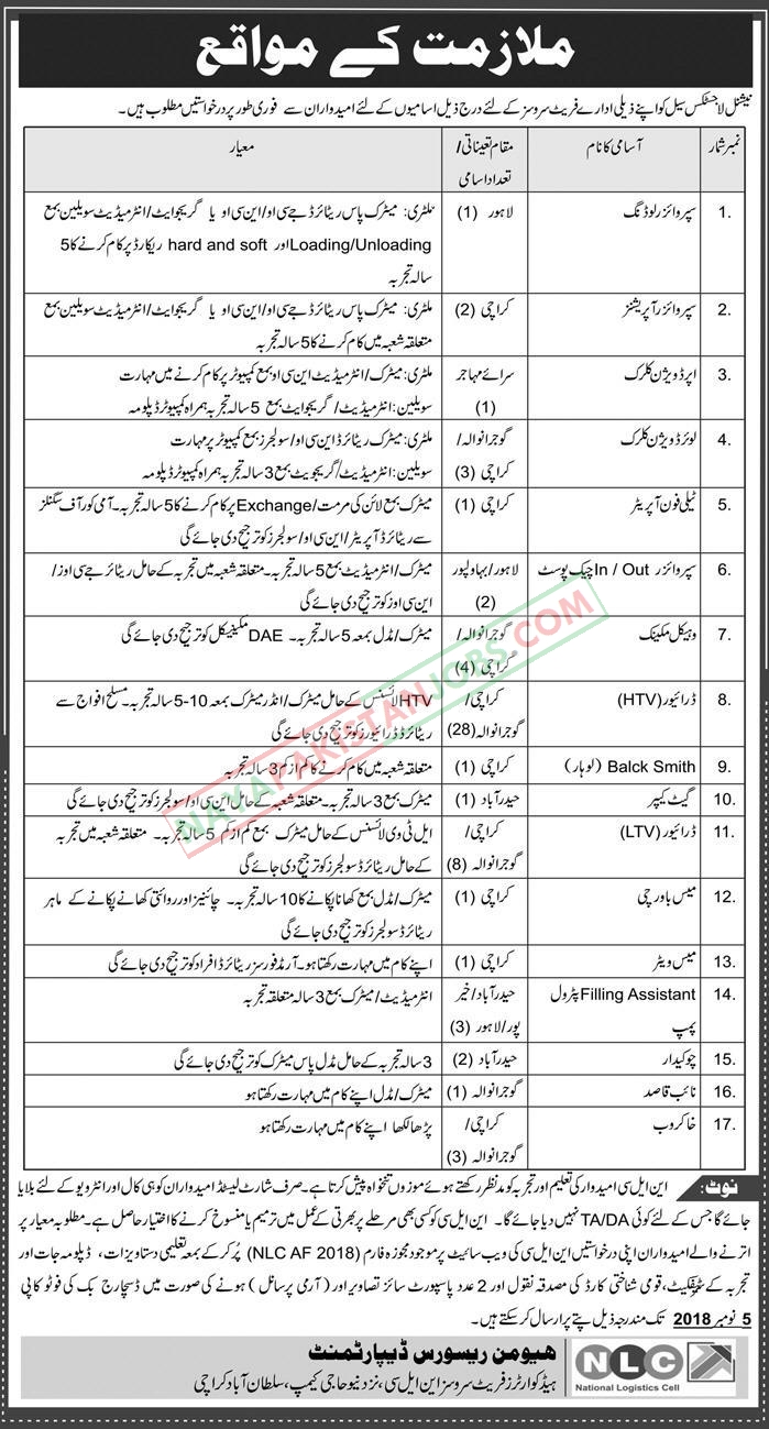 Latest Vacancies Announced in National Logistics Cell NLC 20 October 2018 - Naya Pakistan