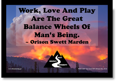 Work, love and play are the great balance wheels of man's being. - Orison Swett Marden (Raging wildland fire in shades of purple, orange and blue)