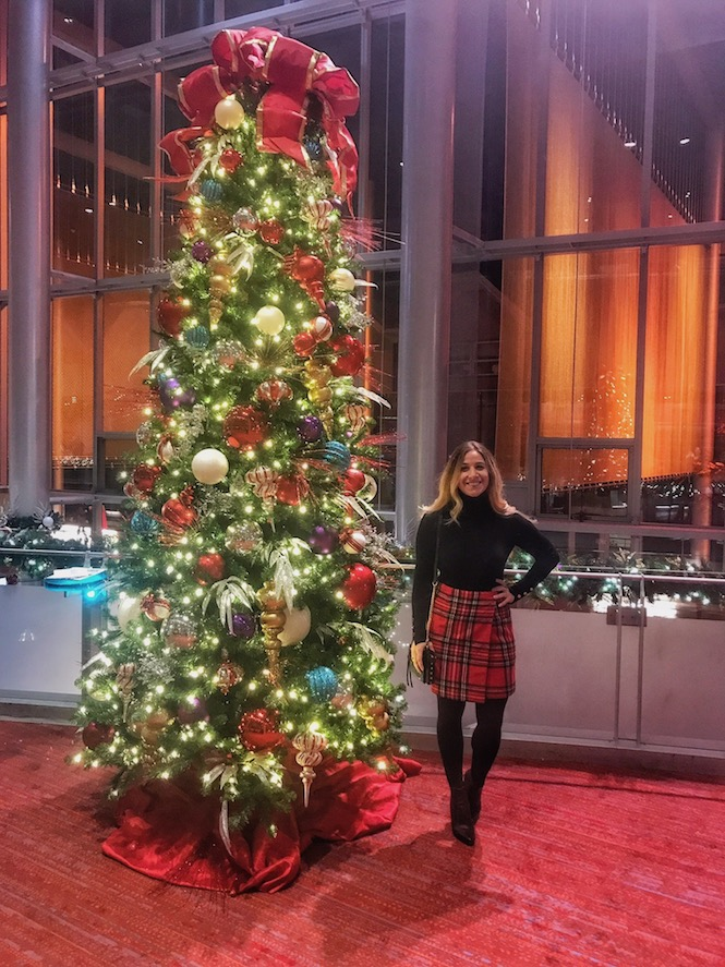 Standing next to Tree at the Nutcracker, outfit