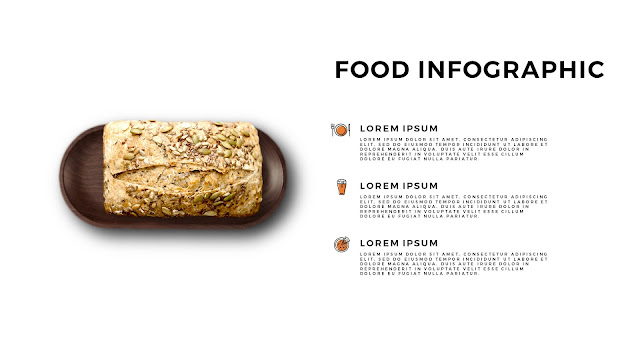 Food Infographic Elements for Powerpoint Template with Bread and Tray