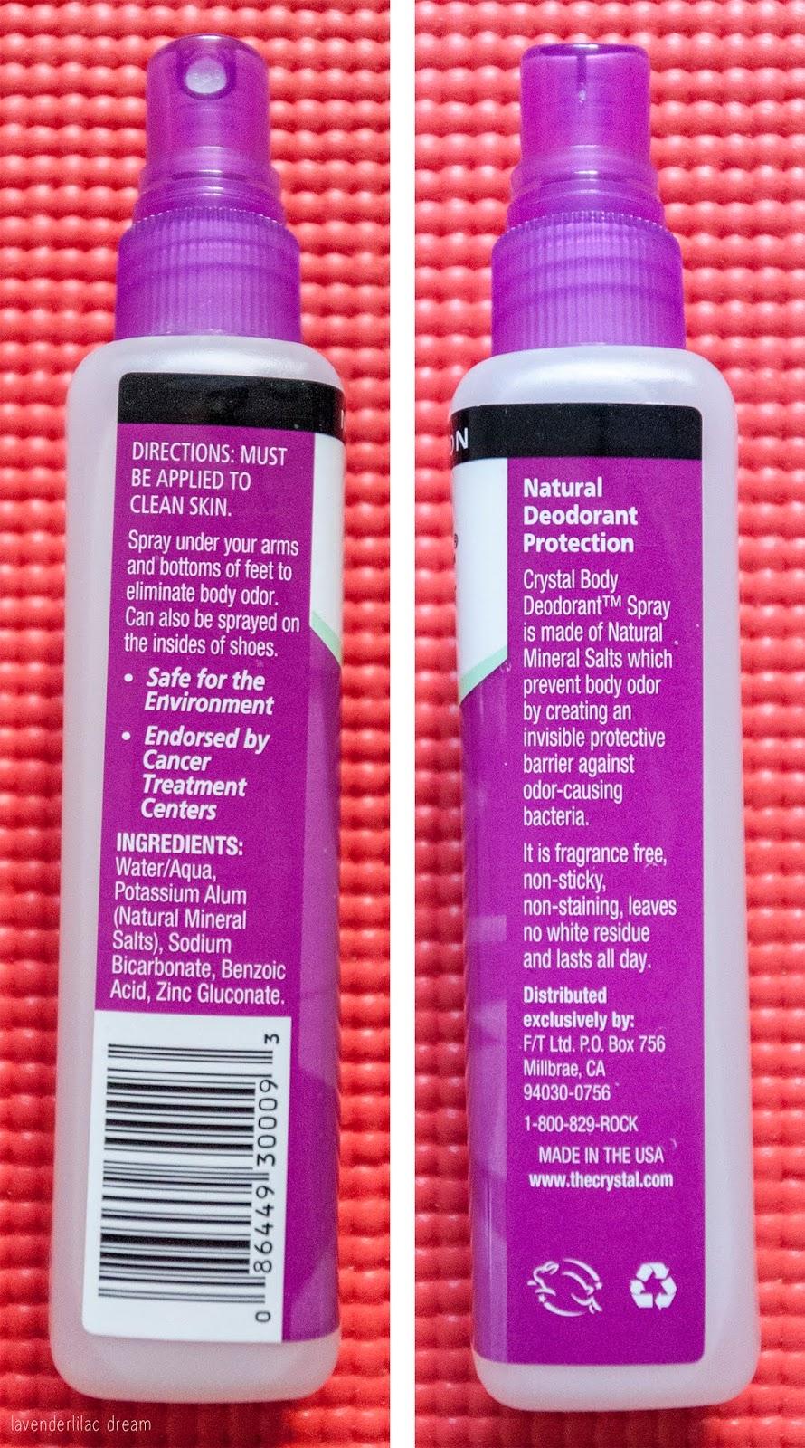 Current Faves, Crystal Body Deodorant Spray Label, Natural Aluminum-free Deodorant