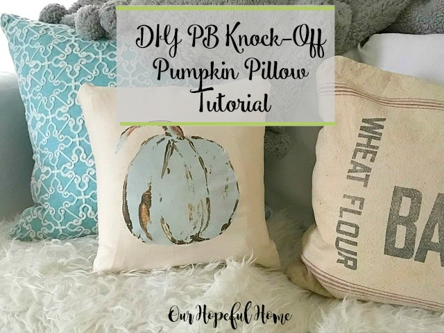 blue Cinderella pumpkin pillow fall decor