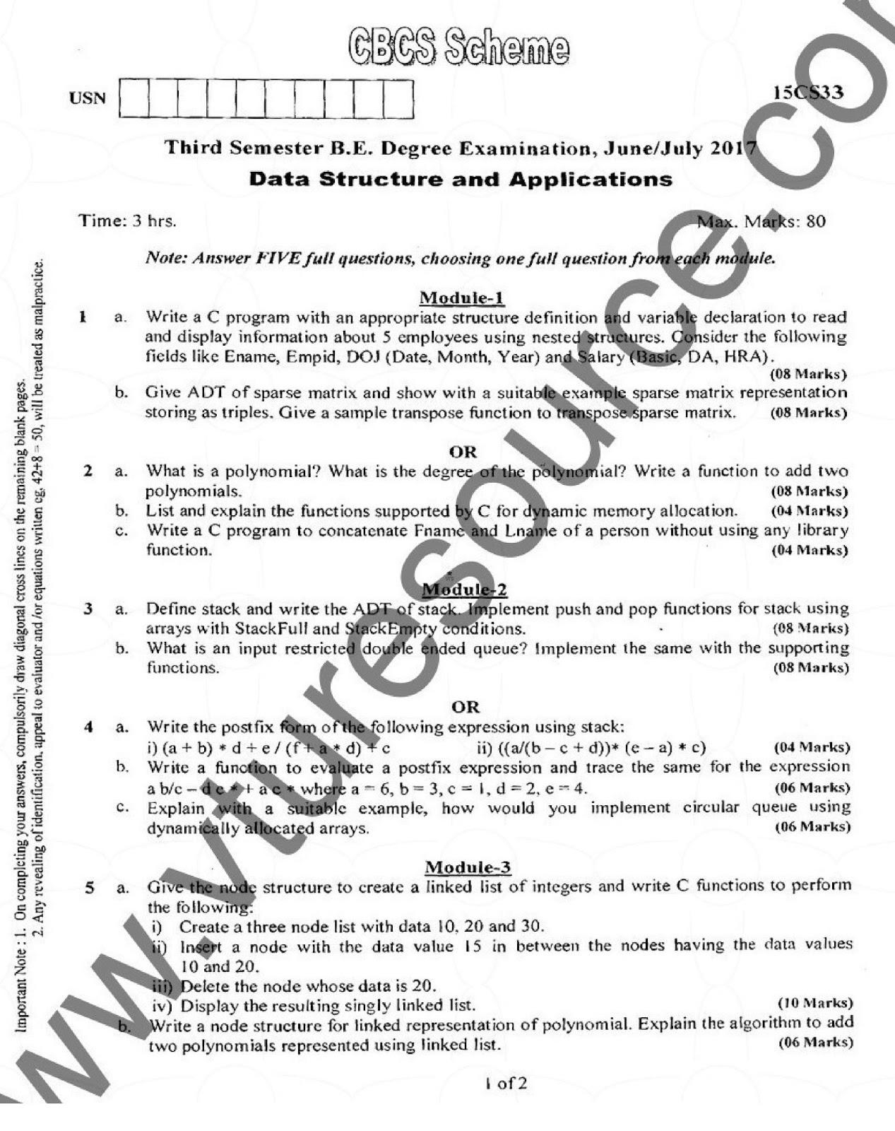 VTU CSE Question Papers – VTU Syllabus