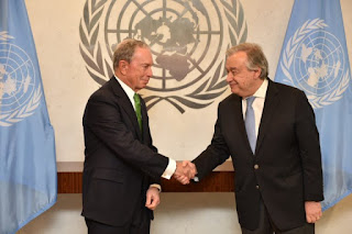 United Nations Secretary-General António Guterres and Michael Bloomberg, Special Envoy (Credit: ) Click to Enlarge.