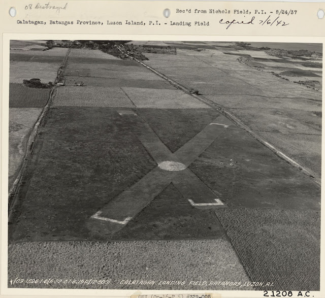 Aerial shot of the Calatagan Landing Field, taken 1937.  Image soruce:  United States National Archives.