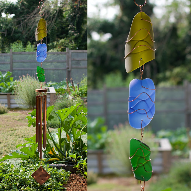 Artist-made sea glass and copper large outdoor wind chiime by Coast Chimes