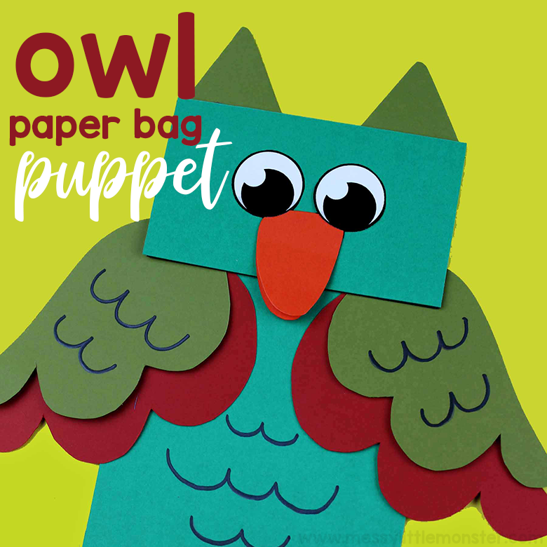 Owl craft for kids. Animal puppets paper bag crafts. Printable owl pattern included.