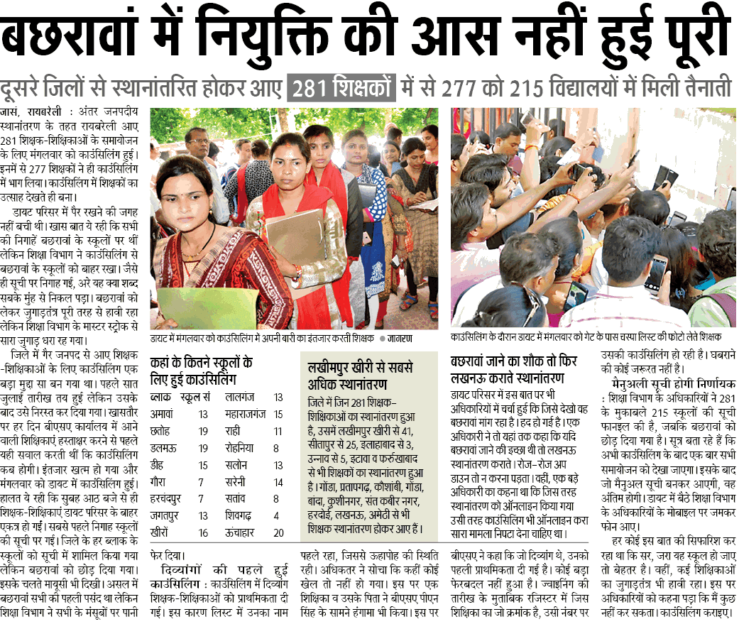 नियुक्ति की आस नहीं हुई पूरी, दूसरे जिलों से स्थानांतरित होकर आए शिक्षकों में से 277 को 215 विद्यालयों में मिली तैनाती