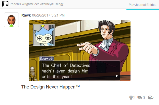 Miles Edgeworth Chief of Detectives Blue Badger design typo Phoenix Wright Ace Attorney Trilogy 3DS Miiverse Capcom Nintendo
