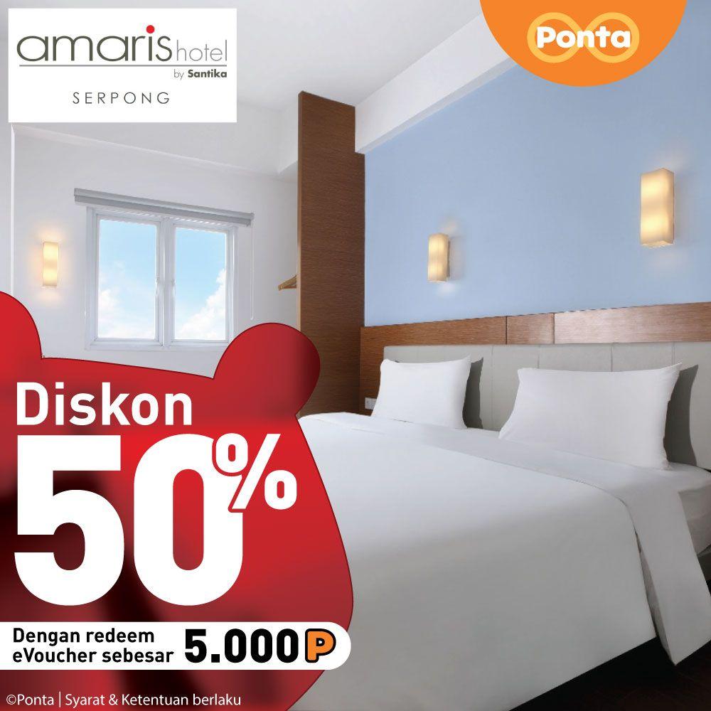 #Ponta - #Promo Tukar 5000 Poin Dengan Diskon 50% di Amaris Hotel Serpong