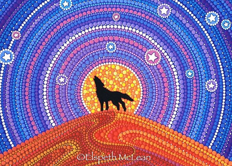 23-Wolf-Howling-Elspeth-McLean-Dotillism-Paintings-Mandala-on-Stones-Canvas-and-Clothes-www-designstack-co
