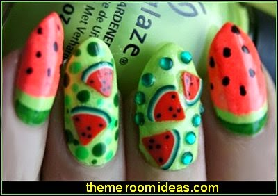 watermelon nail design - fruit themed nail art - decorating nails fruit theme