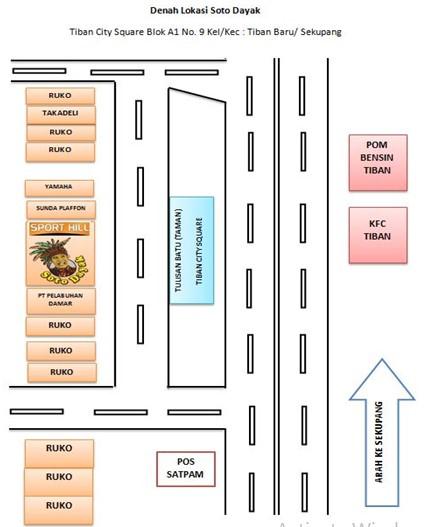 Peta Lokasi Wirausaha Kuliner Batam Soto Dayak