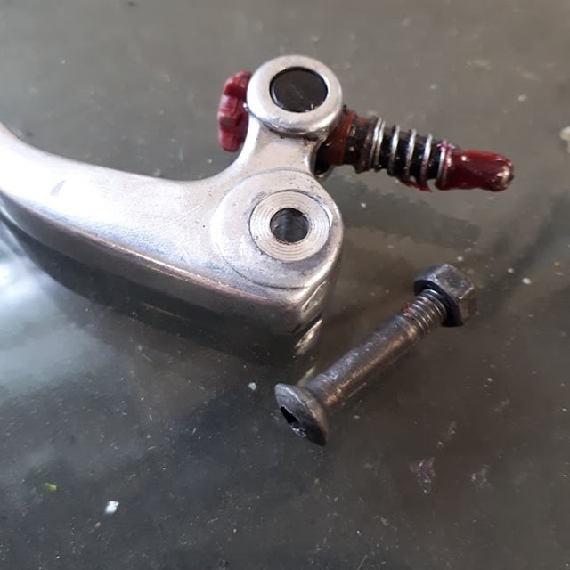 The clutch lever was very loose in the perch so the pivot hole was bored out to 10mm and re-sleeved with a bit of 10 mm aluminium stock to take out the slop.