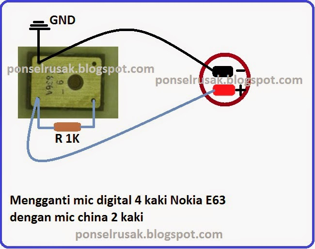 How to jumper's mic Nokia e63 digital 4 feet using Mic China 2 feet