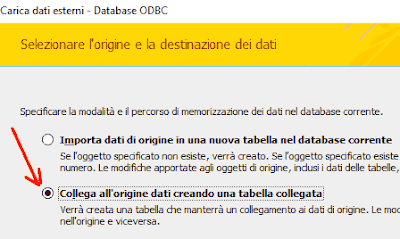 Collega all'origine dati creando una tabella collegata