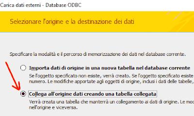 Collega all'origine dati creando una tabella collegata