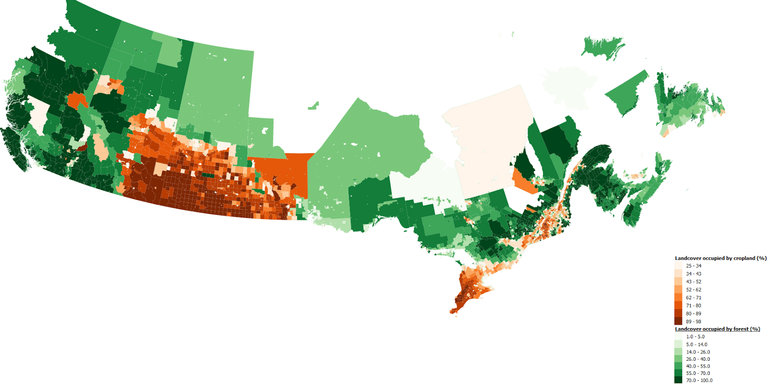 Cropland & forest landcover of Canadian census subdivisions
