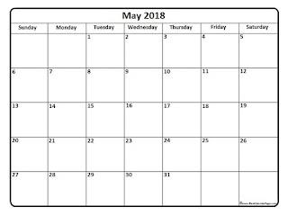 Free Printable Calendar May 2018
