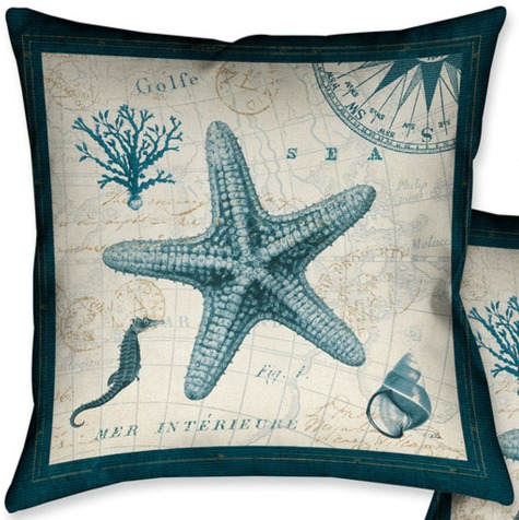 Nautical Map Pillow