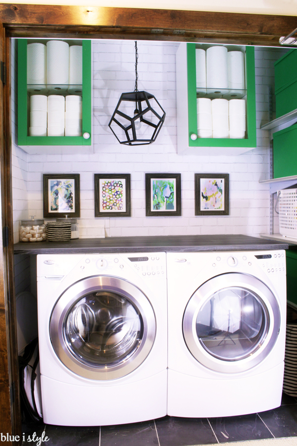 DIY budget wood plank laundry counter