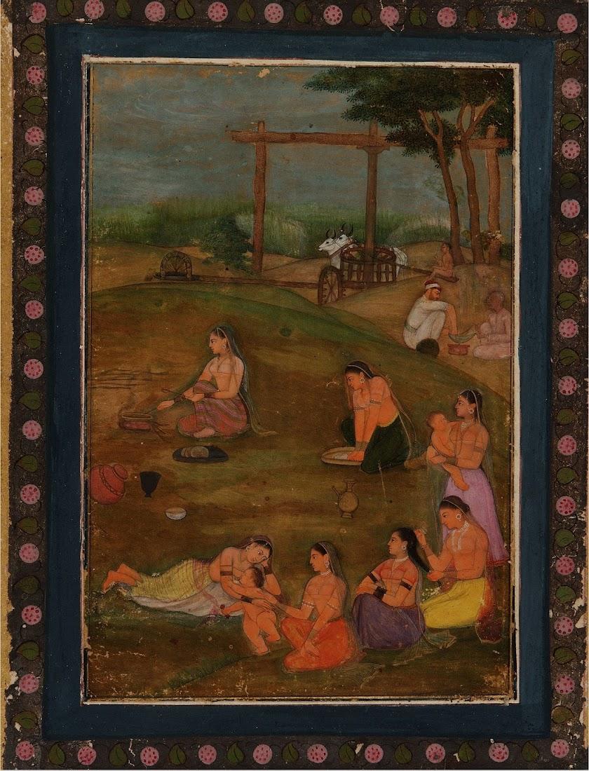 A Village scene - Mughal School c1640