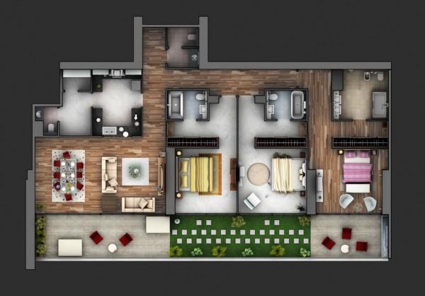 Berikut beberapa desain rumah 3 kamar tidur versi 3D yang bisa digunakan sebagai referensi tempat tinggal keluarga baru anda : & 70+ Desain 3D Rumah 3 Kamar Tidur Terbaru 2018 - Rumahku Unik