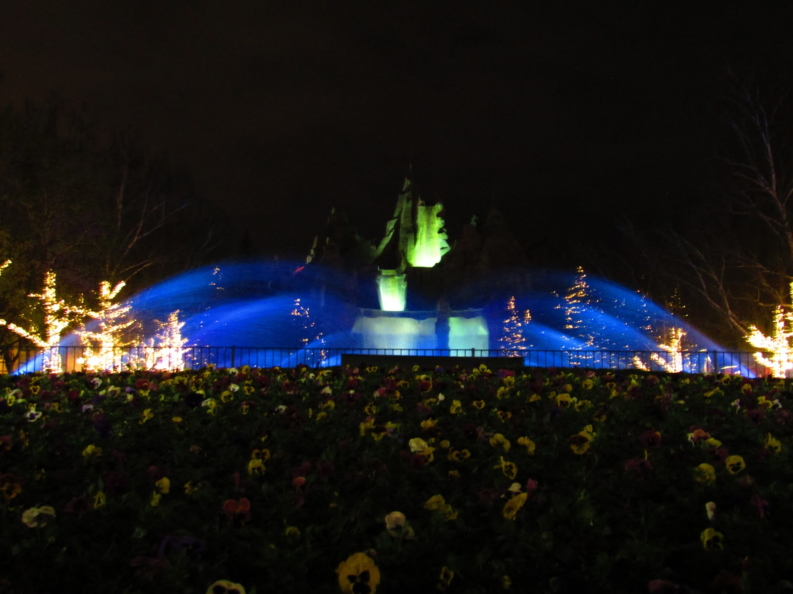 Here are the Royal Fountains glowing blue and some semi-lit pansies on International Street.