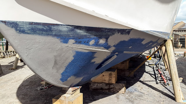 Photo of the primer patches on the hull