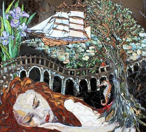 mosaic painting by Laura Harris