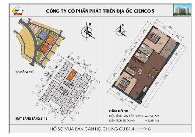 Sơ đồ căn hộ 18 chung cư Thanh Hà Cienco 5 tòa HH01C căn 18