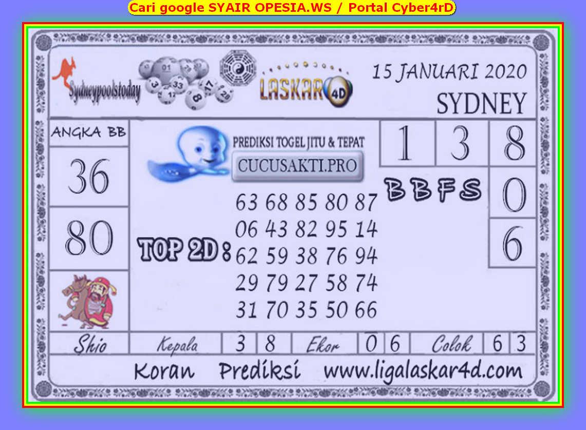Kode syair Sydney Rabu 15 Januari 2020 113