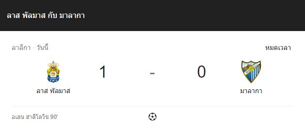 แทงบอล ไฮไลท์ เหตุการณ์การแข่งขันระหว่าง ลาส พัลมาส vs มาลาก้า