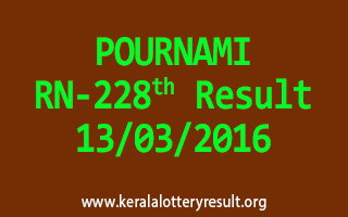 POURNAMI RN 228 Lottery Result 13-3-2016