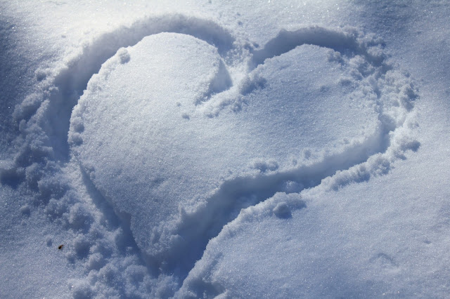heart traced in snow, quarry park, minnesota