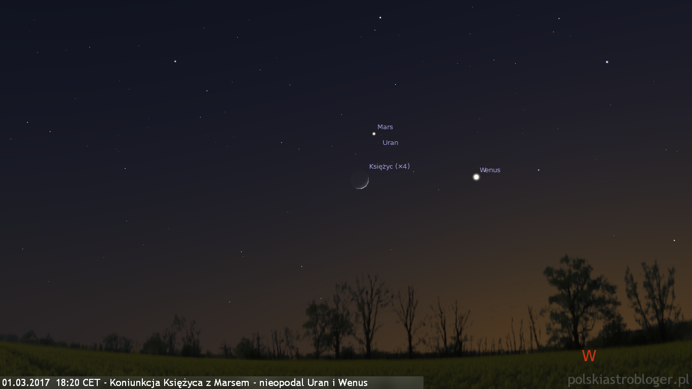01.03.2017  18:20 CET - Koniunkcja Księżyca z Marsem - nieopodal Uran i Wenus