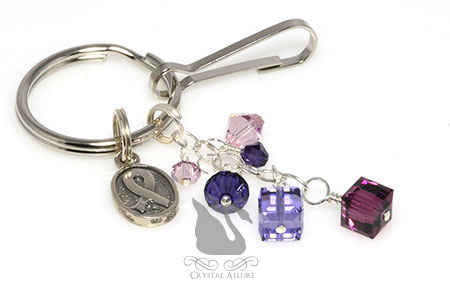 Crystal Cystic Fibrosis Awareness Ribbon Purse Charm Keychain (K105)