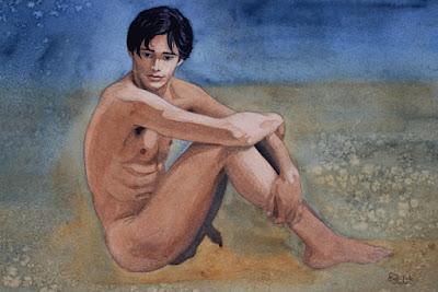 aquarelle, jeune homme nu, illustration