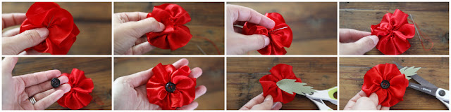 Step-by-step making a rolled ribbon remembrance poppy