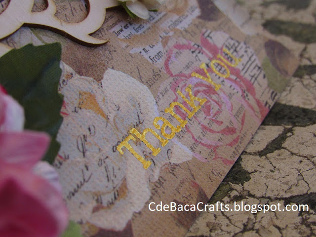 Handmade Thank You Gold Foil Card by CdeBaca Crafts Blog.