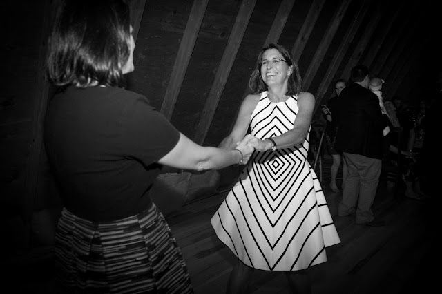 Dancing at the barn reception at Jonna and Heather's Inn at West Settlement Wedding by Karen Hill Photography