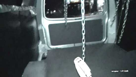 collar chained to the inside of a van waiting for mistress' slave. yapoo market venus semidocumentary YMVD 006
