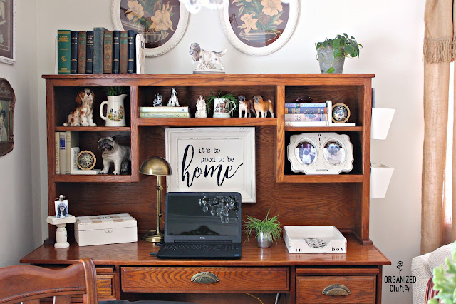 Thrifted Items Up-cycled Or Re-purposed As Desk Decor