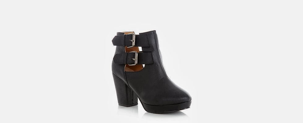 New Look Black Leather-Look Cut Out Heeled Boots